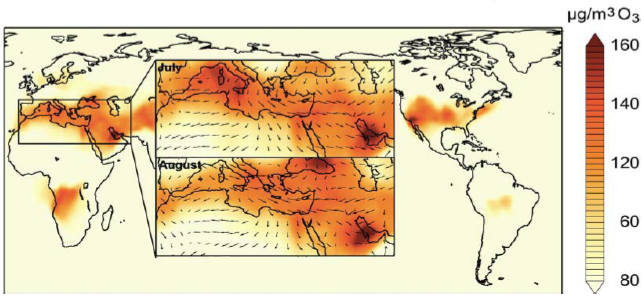 The Mediterranean and Middle East are hot spots of ozone air pollution