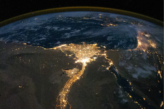 Cairo by night. Urban air pollution is particularly severe in emerging megacities