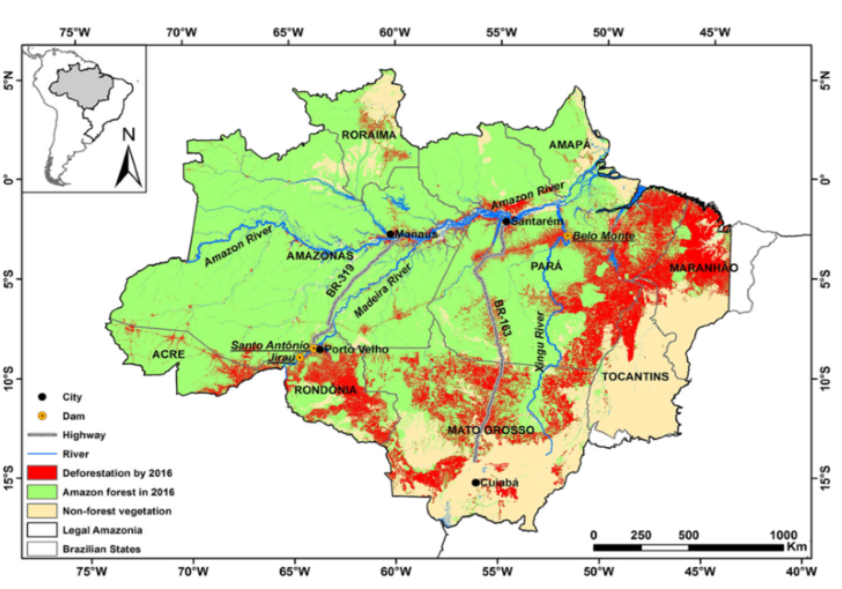 Deforested area of Amazon basin by 2016