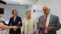 Photo: Dr. Marina Solomidou-Ieronymidou, Director of the Department of Antiquities, Ms. Vassiliki Anastassiadou, Minister of Transport, Communications and Works, and Professor Costas Papanicolas, CyI President