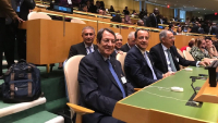 Photo: (From Left to right) Front: President Nicos Anastasiades, Foreign Minister Nicos Christodoulides, Minister of Agriculture Dr Costas Kadis; Back: Head of Climate Action Unit, Dr. Theodoulos Mesimeris, CyI President Prof Costas Papanicolas, Gov't Spokesman Mr Prodromos Prodromou