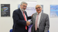 Photo: Prof. Fadlo R. Khuri and Prof. Costas Papanicolas at the Signing of the MoU between AUB and CyI